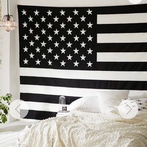 Urban Outfitters B&W American Flag Tapestry